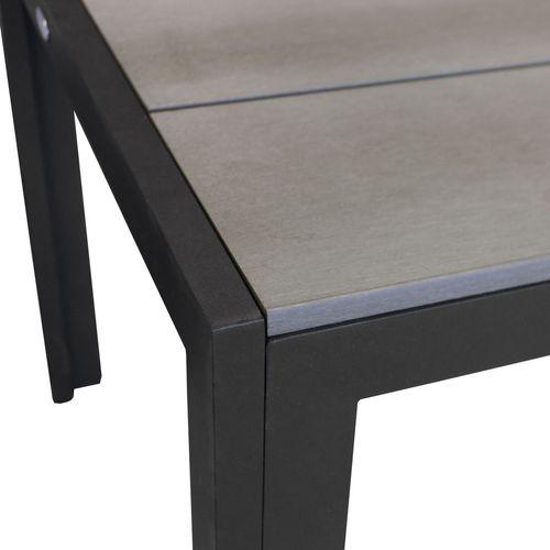 Gartentisch Aluminium/Polywood 205x90cm Smoked-Grey/Schwarz – Bild 3