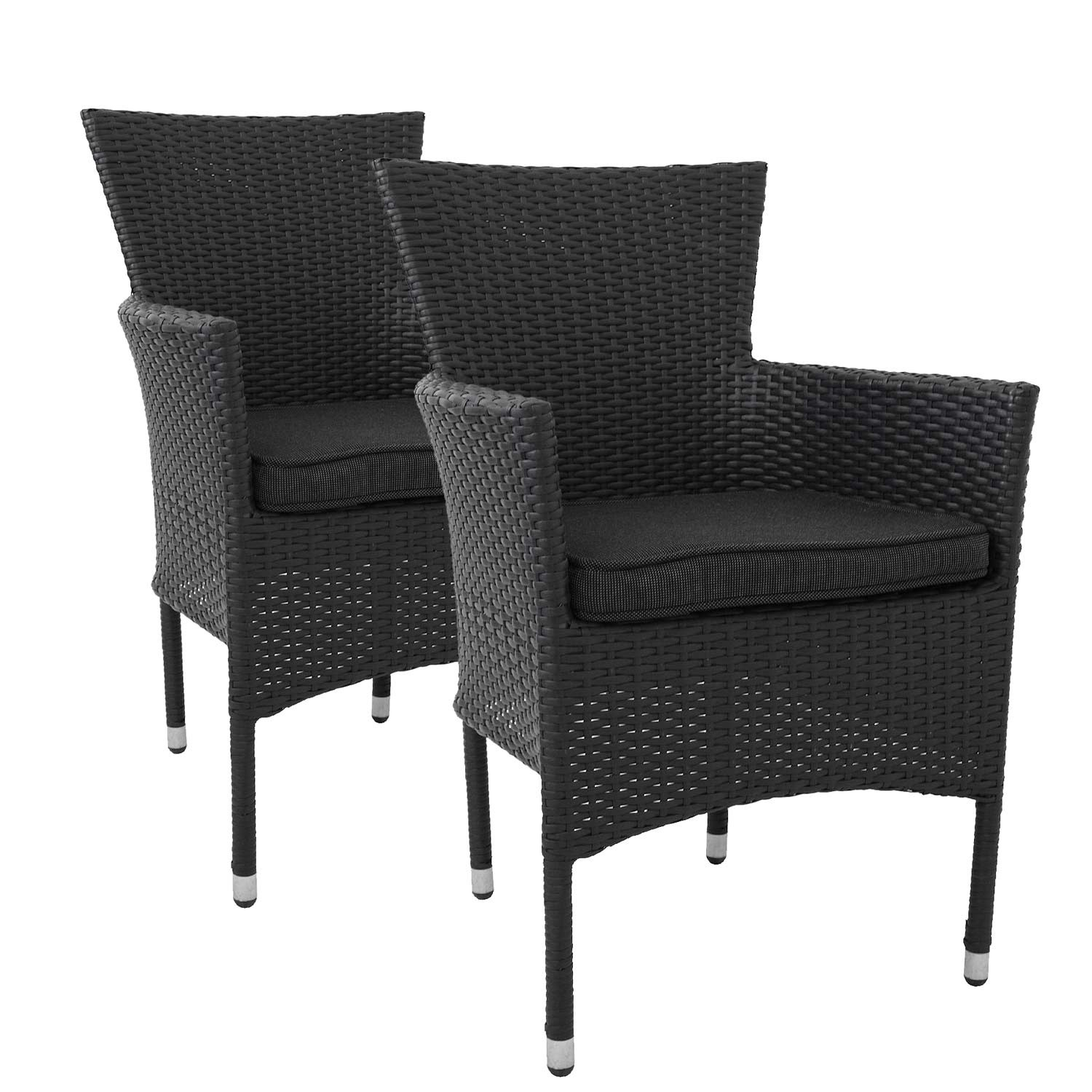 2 stk poly rattan sessel schwarz stapelbar kissen schwarz. Black Bedroom Furniture Sets. Home Design Ideas