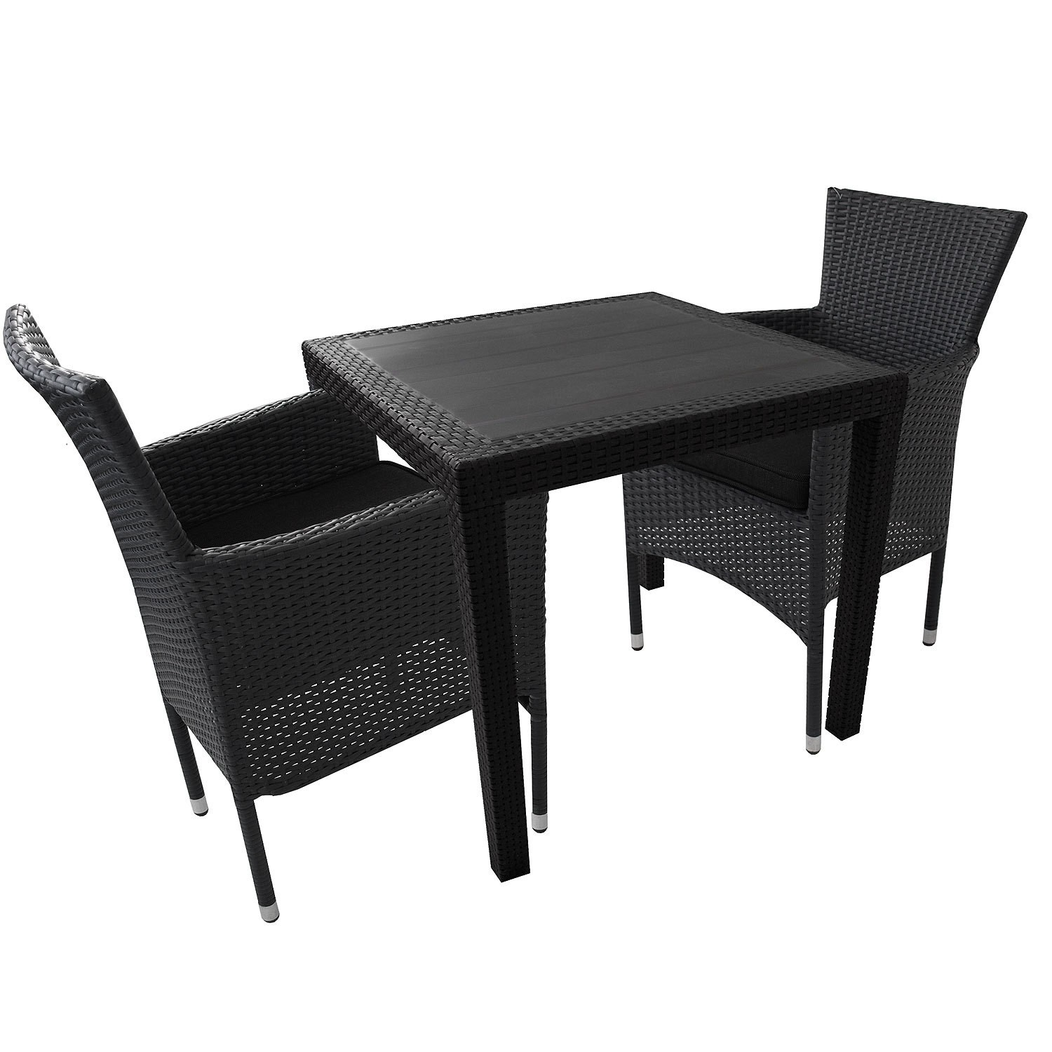 3tlg gartengarnitur kunststoff gartentisch 79x79cm stapelbare poly rattan sessel kissen. Black Bedroom Furniture Sets. Home Design Ideas