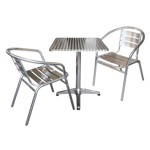 3tlg. Bistro-Set Bistrotisch 60x60cm + 2x stapelbarer Bistrostuhl - Silber – Bild 1