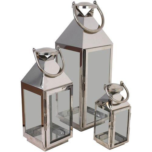 3tlg. Laternen-Set H55,5/40/25cm Silber – Bild 1