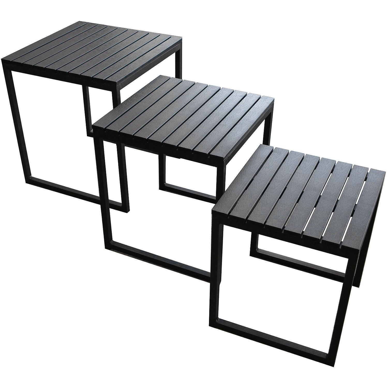 3er set aluminium beistelltische polywood tischplatte for Beistelltisch outdoor