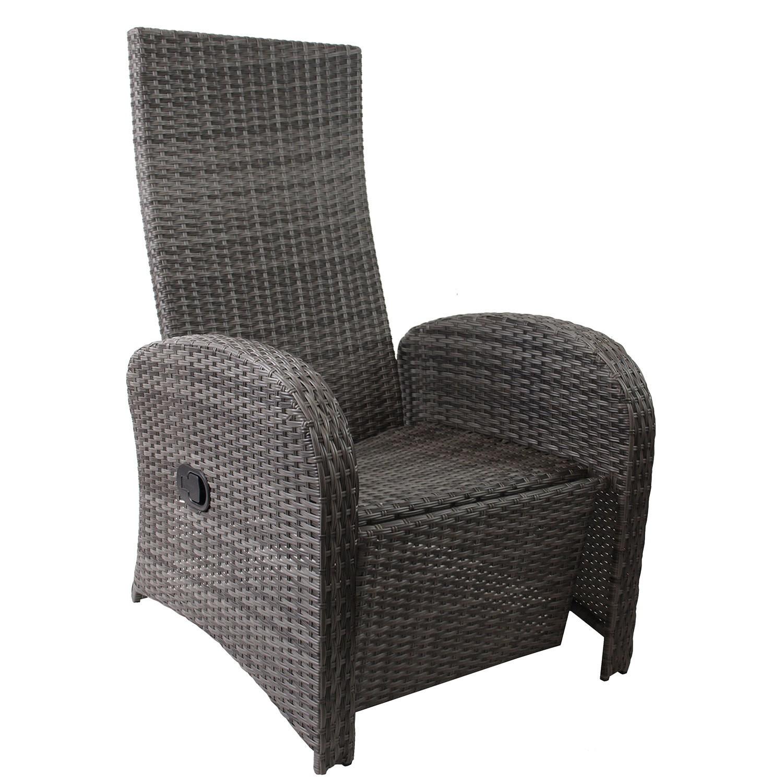 polyrattan gartensessel grau meliert fu teil stufenlos verstellbar polster schwarz relaxsessel. Black Bedroom Furniture Sets. Home Design Ideas
