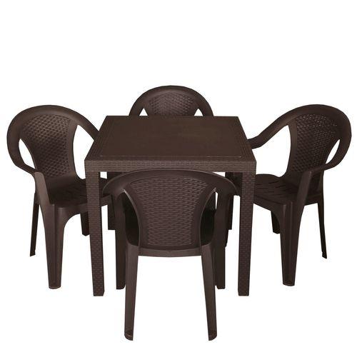 5tlg. Gartengarnitur Tisch 79x79 + 4x Stapelstuhl Kunststoff – Bild 1