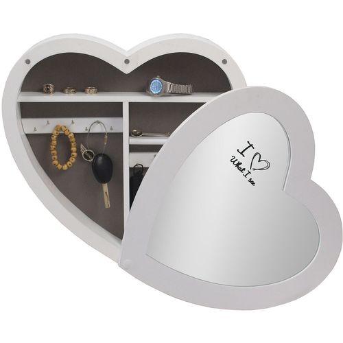 Schmuckschrank Herz mit Spiegel 40x40x7cm - Weiss – Bild 1