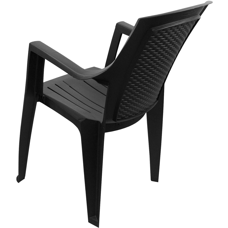 stapelstuhl rattan optik bistro gartenstuhl balkonstuhl stapelbar schwarz ebay. Black Bedroom Furniture Sets. Home Design Ideas
