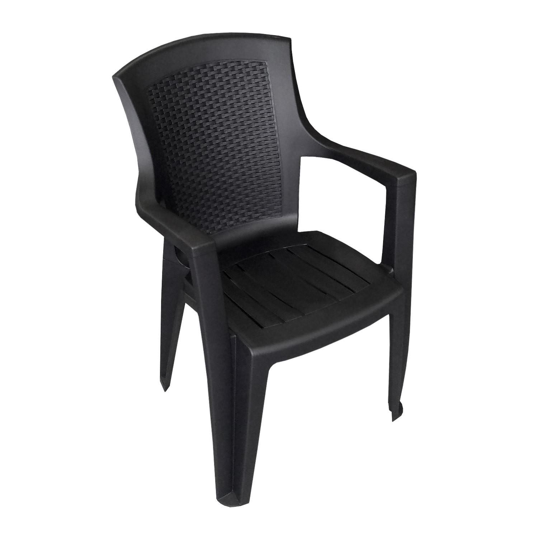 2 st ck stapelstuhl eden rattan look schwarz garten gartenst hle stapelst hle. Black Bedroom Furniture Sets. Home Design Ideas