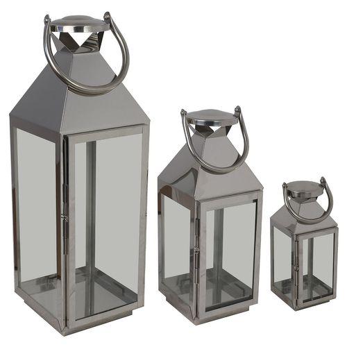 3tlg. Laternen-Set H55,5/40/25cm Silber  – Bild 3