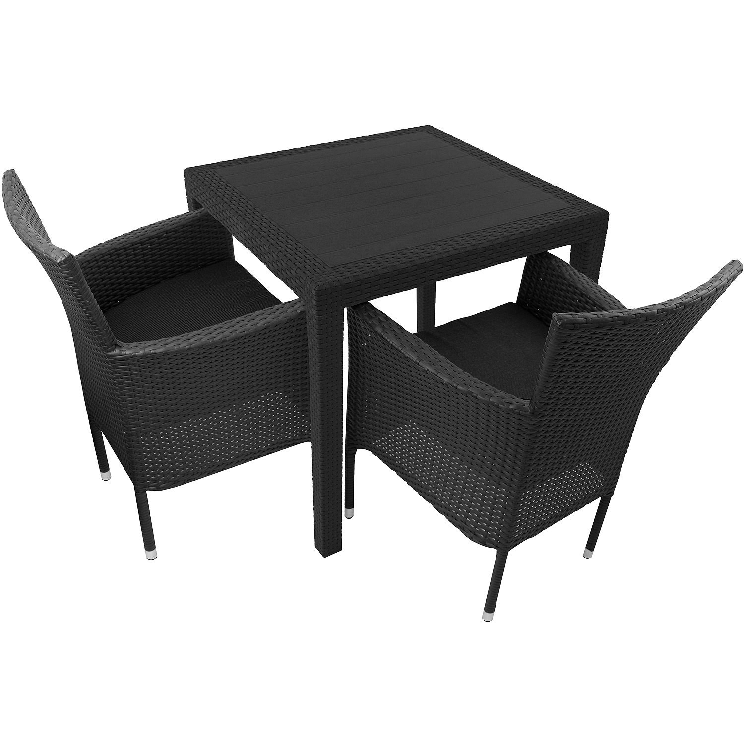3tlg gartengarnitur kunststoff gartentisch 79x79cm. Black Bedroom Furniture Sets. Home Design Ideas