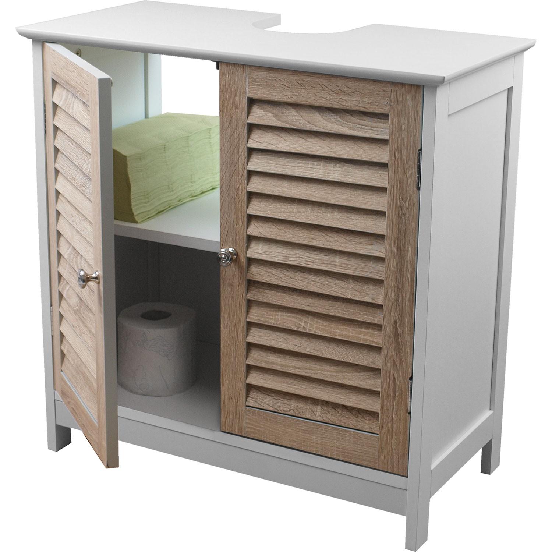 Waschbeckenunterschrank mit 2 t ren 60x30x60cm holz mdf for Holz waschbeckenunterschrank