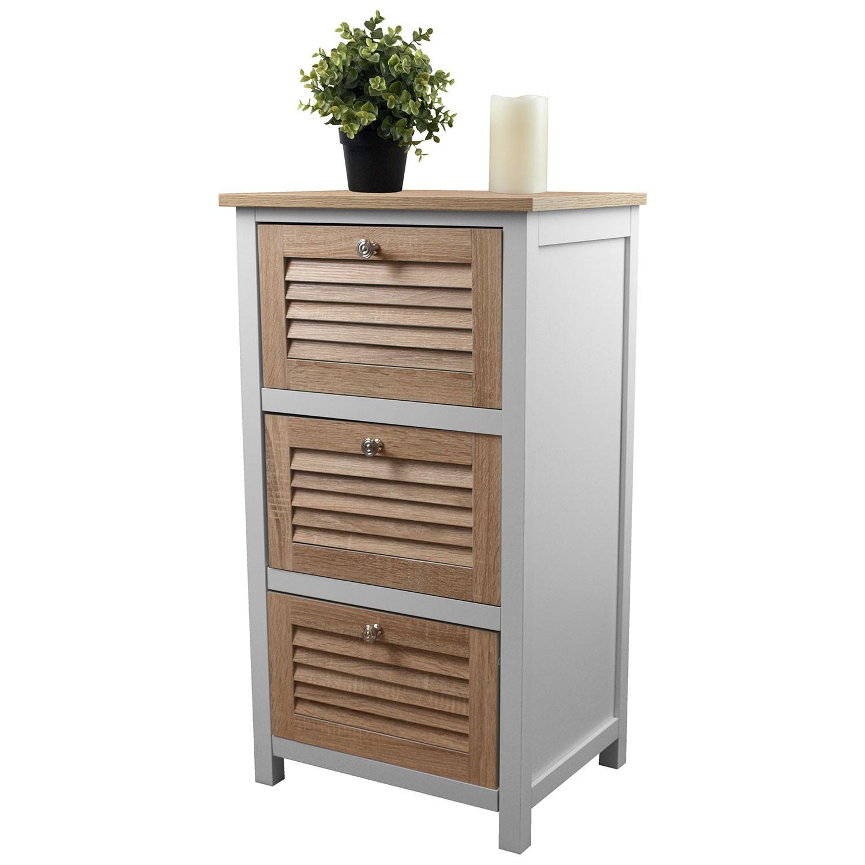 schrank mit 3 schubladen 45x35x82cm holz mdf wohnen kleinm bel. Black Bedroom Furniture Sets. Home Design Ideas