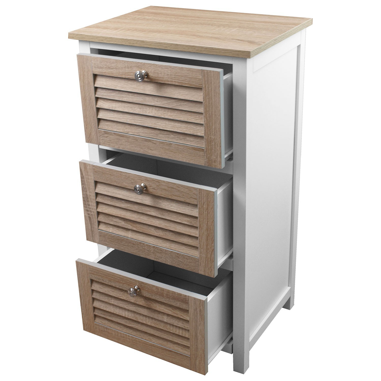 kommode schrank mit 3 schubladen 45x35x82cm badschrank. Black Bedroom Furniture Sets. Home Design Ideas