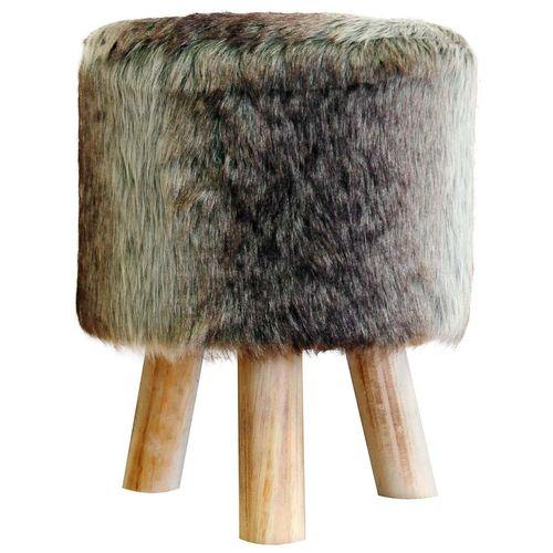 Sitzhocker mit Fellbezug - Braun-Grau