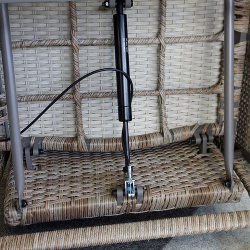 2x Wohaga Polyrattan Sessel mit Fußteil Naturfarben + Auflage Grau – Bild 7