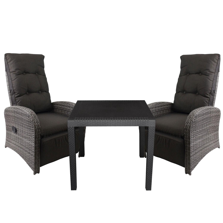 Gartenmöbel Set 79x79cm inklusive Polyrattan Sessel 3tlg. Garten ...