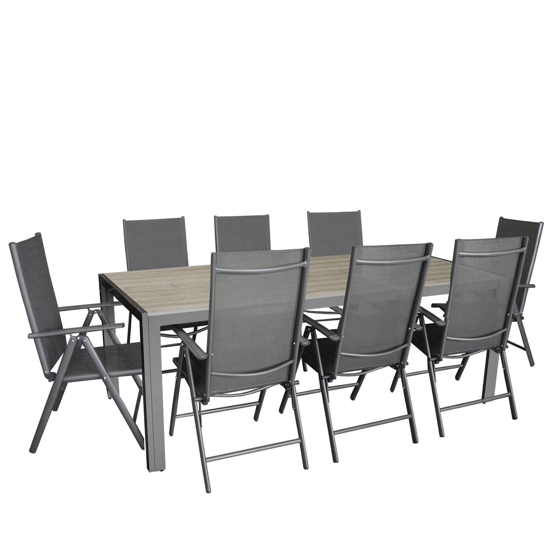 9tlg gartengarnitur alu polywood 205x90cm 8x hochlehner. Black Bedroom Furniture Sets. Home Design Ideas