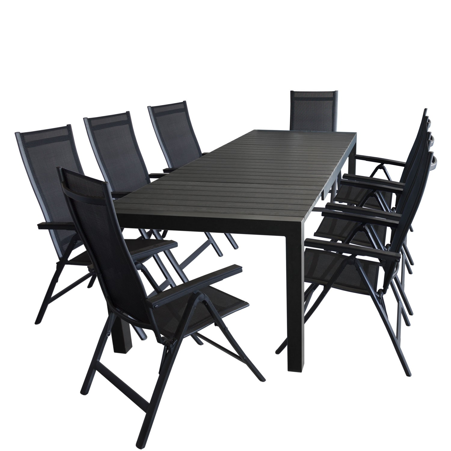 gartengarnitur aluminium hochlehner gartentisch ausziehbar 205 275x100cm 9tlg ebay. Black Bedroom Furniture Sets. Home Design Ideas