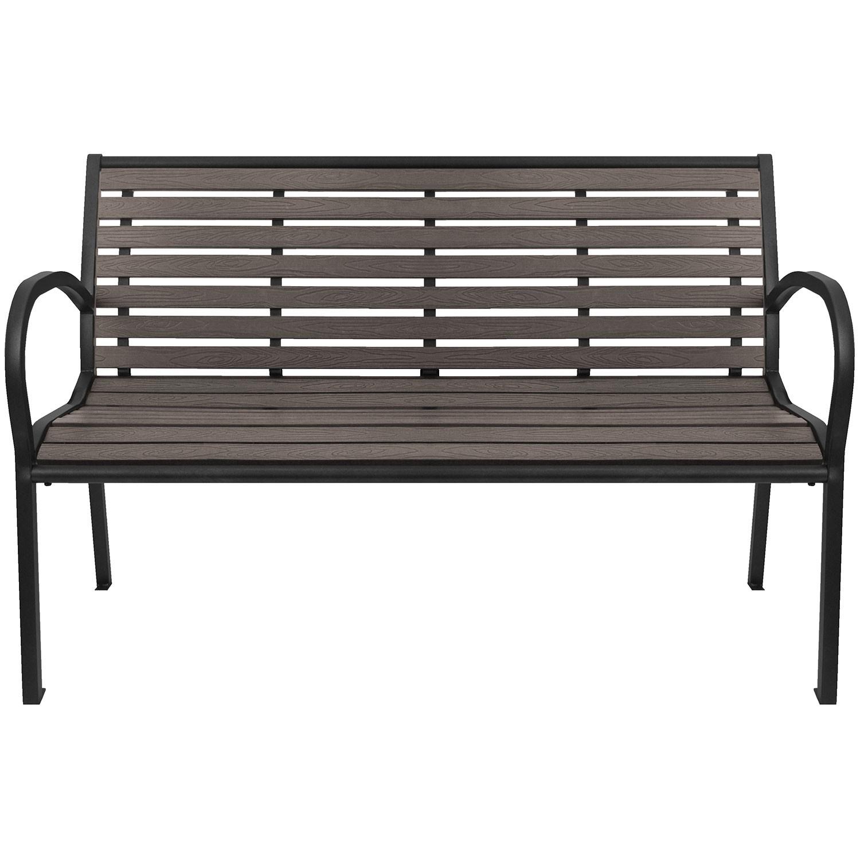 gartenbank sitzbank parkbank bank wetterfest metall polywood grau ebay. Black Bedroom Furniture Sets. Home Design Ideas