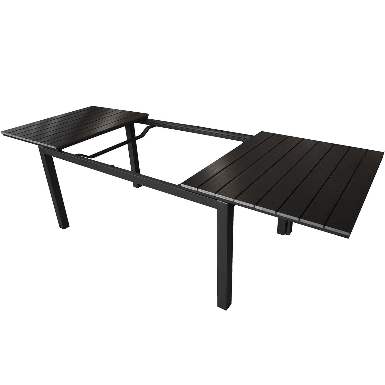 ausziehtisch alu polywood 160 210 260x95cm schwarz schwarz. Black Bedroom Furniture Sets. Home Design Ideas
