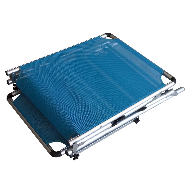 campingliege sonnenliege gartenliege mit sonnenschutz textilenbespannung blau ebay. Black Bedroom Furniture Sets. Home Design Ideas
