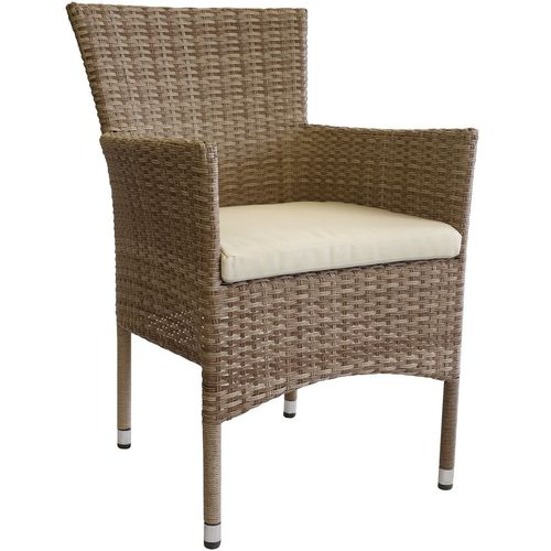 6 Stk. Poly Rattan Sessel Nature stapelbar + Kissen Beige