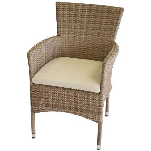 Poly Rattan Sessel Nature stapelbar + Kissen Beige – Bild 1