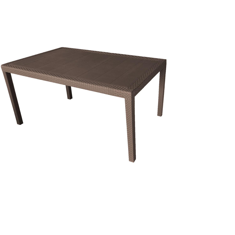 gartentisch queen rattan look 150 220x90cm kunststoff mokka garten gartenm bel gartentische. Black Bedroom Furniture Sets. Home Design Ideas