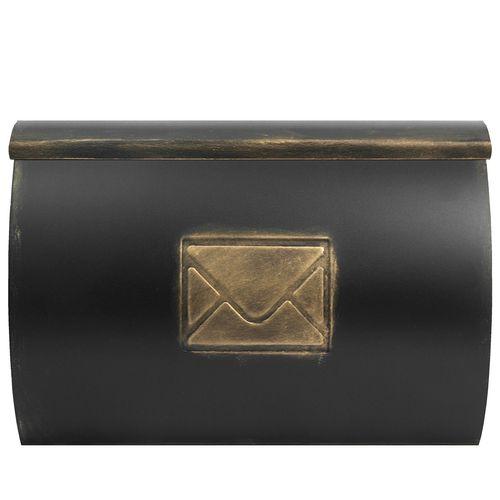 Wand Briefkasten mit Zeitungsfach / Motiv Brief / Gold – Bild 1