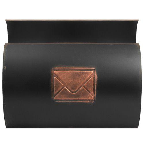 Wand Briefkasten mit Zeitungsfach / Motiv Brief / Bronze – Bild 2