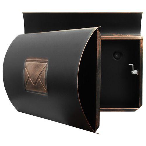 Wand Briefkasten mit Zeitungsfach / Motiv Brief / Bronze – Bild 5