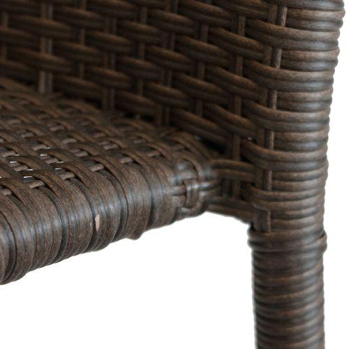 3tlg. Gartengarnitur Gartentisch 79x79cm + 2x Polyrattan Stapelstuhl braun-meliert – Bild 5