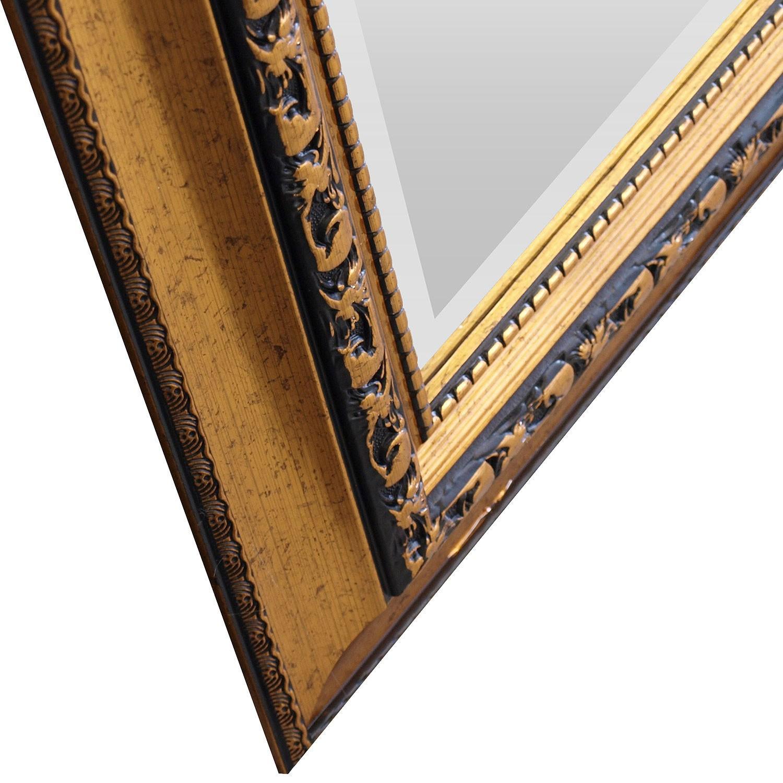 wandspiegel barspiegel mit facettenschliff 102x52cm gold wohnen spiegel. Black Bedroom Furniture Sets. Home Design Ideas