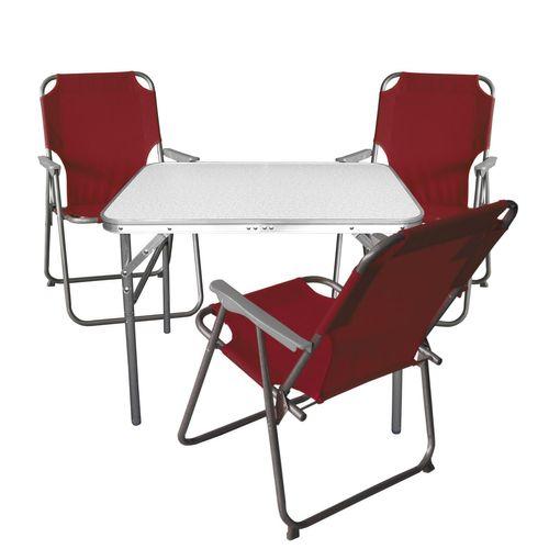 4tlg. Campingmöbel-Set Tisch + 3x Klappstuhl rot – Bild 1