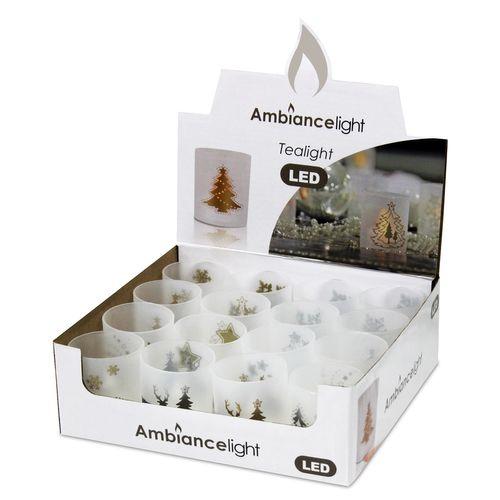 16tlg. Set Teelichthalter inkl. LED Teelichter Ø5xH6cm (1 Display)