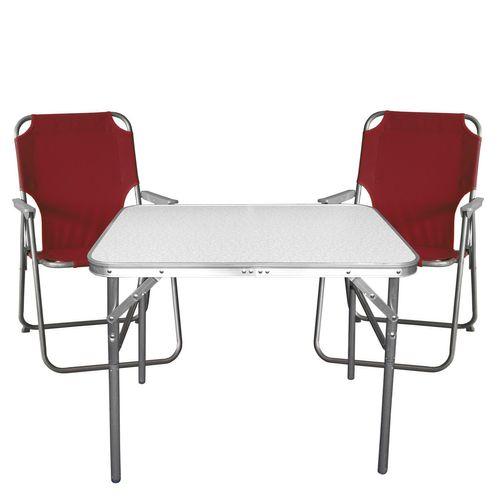 3tlg. Campingmöbel-Set Tisch + 2x Klappstuhl rot – Bild 1