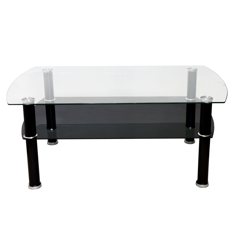 couchtisch 2 ebenen glas 100x60x42cm schwarz wohnen kleinm bel. Black Bedroom Furniture Sets. Home Design Ideas