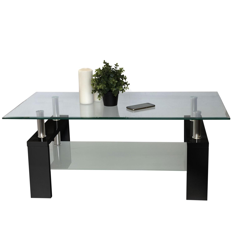 couchtisch glastisch wohnzimmertisch tischbeine hochglanz schwarz 110x60x45cm ebay. Black Bedroom Furniture Sets. Home Design Ideas