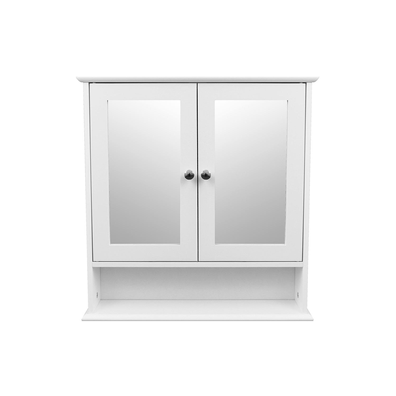 Wandschrank mit spiegel und ablage 56x13x58cm wei wohnaccessoires wanddekoration - Spiegel zum hinstellen ...