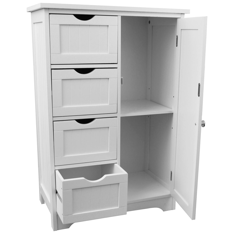 schrank mit 4 schubladen und 1 t r 55x30x81cm wei m bel kommoden. Black Bedroom Furniture Sets. Home Design Ideas