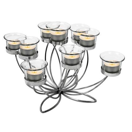 Teelichthalter Lotusblüte 26x26xH21cm inkl. 9 Gläser – Bild 3
