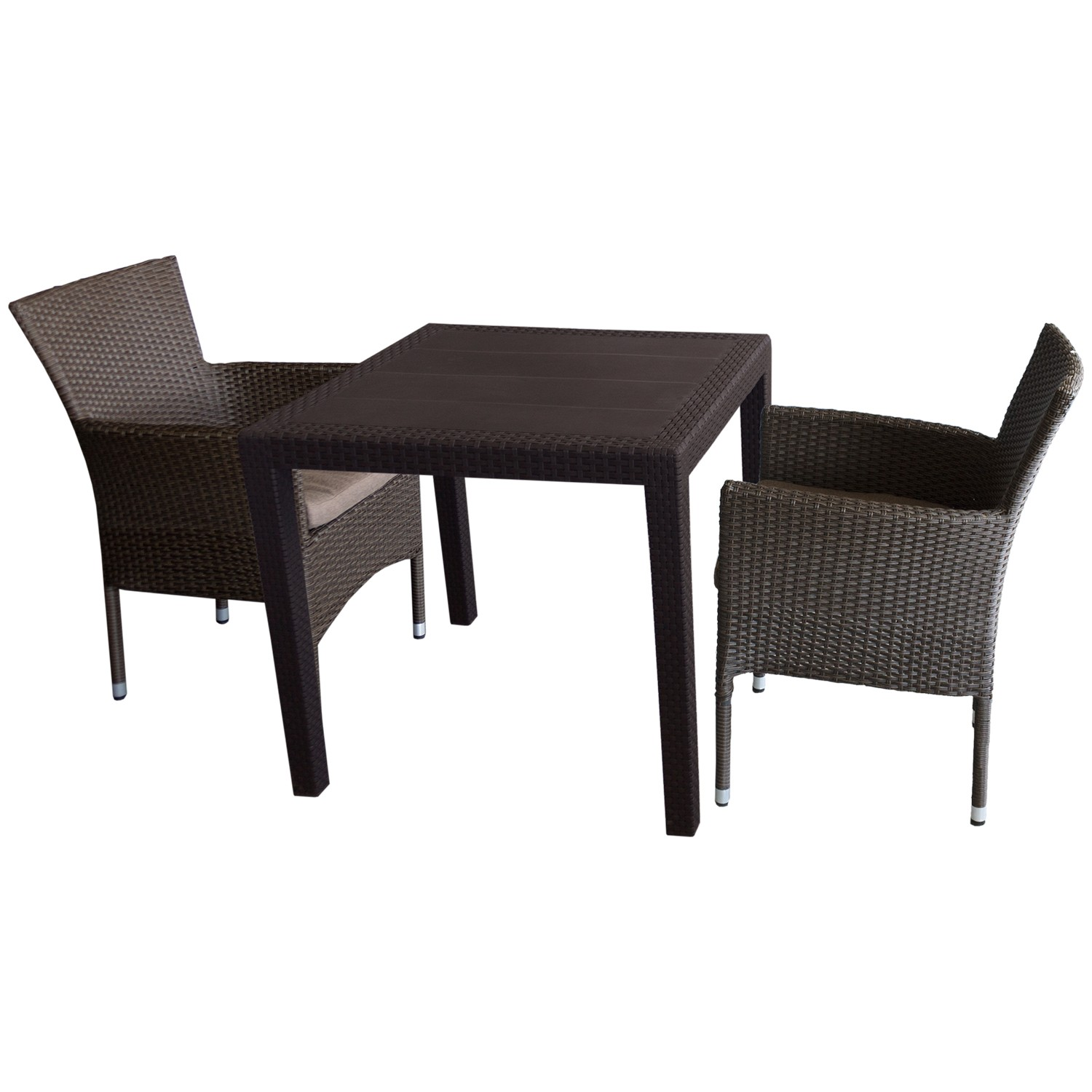 3tlg bistrogarnitur rattan look 79x79cm 2x polyrattan sessel inkl kissen garten bistro und. Black Bedroom Furniture Sets. Home Design Ideas