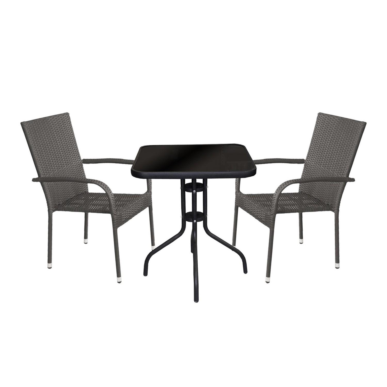 3tlg. Balkonmöbel Set Glastisch 60x60cm + 2x Poly-Rattanstuhl, grau ...