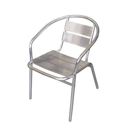 5tlg. Aluminium Sitzgruppe 60x60cm + 4x Stapelstuhl – Bild 4