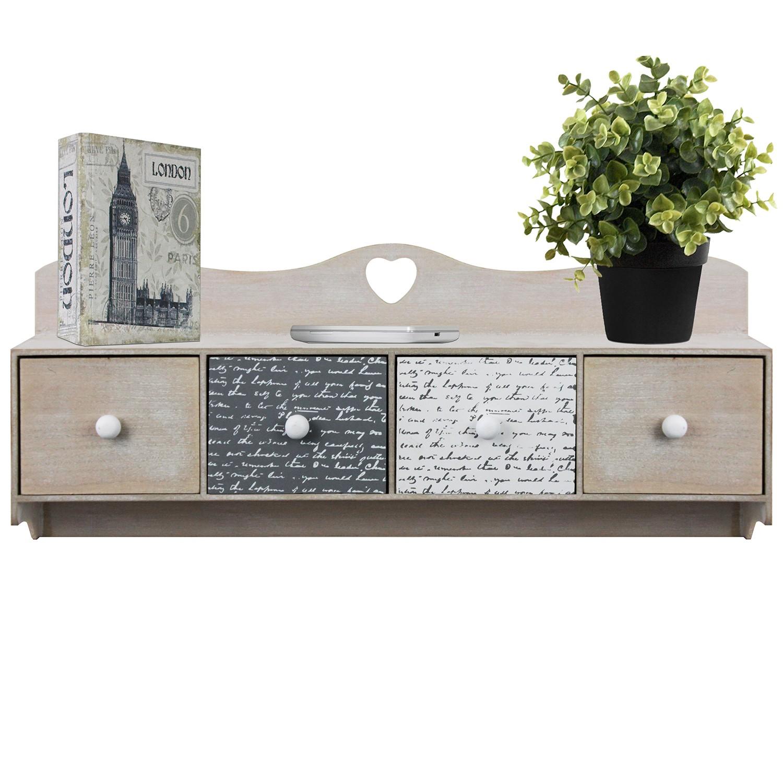 Wandschrank 60x11x25cm mit Ablage + 4 Schubladen Hängeschrank für ...