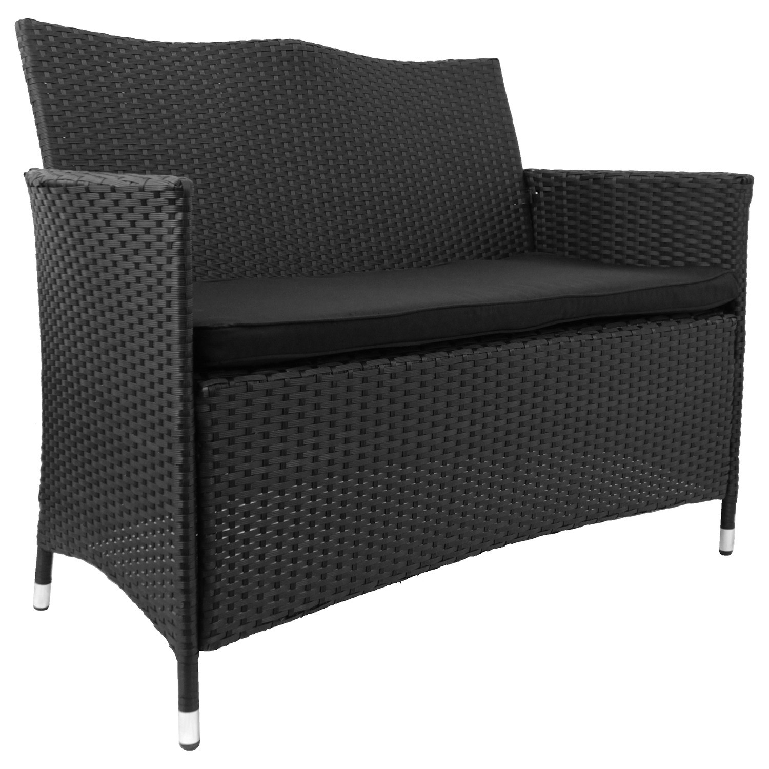 sitzbank 2 sitzer gartenbank bank metall polyrattan inkl. Black Bedroom Furniture Sets. Home Design Ideas