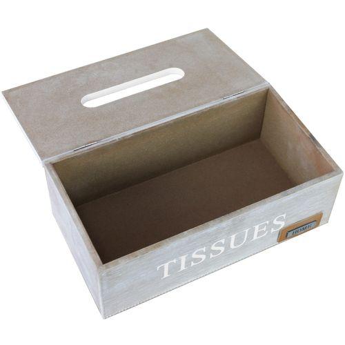 Kosmetiktücherbox Tissues mit Klappdeckel 25x14x9cm Weiß/Braun – Bild 4