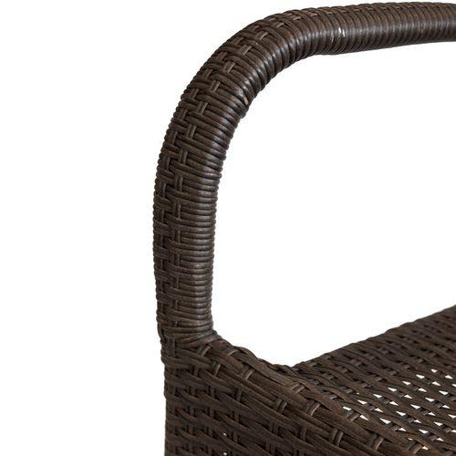 3tlg. Bistrogarnitur Bistro- und Stehtisch Ø60cm + 2x Polyrattan Stapelstuhl braun-meliert – Bild 5