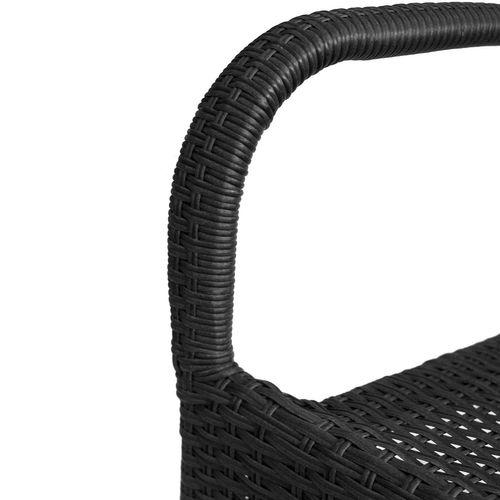 3tlg. Bistrogarnitur Bistro- und Stehtisch Ø60cm + 2x Polyrattan Stapelstuhl schwarz – Bild 4