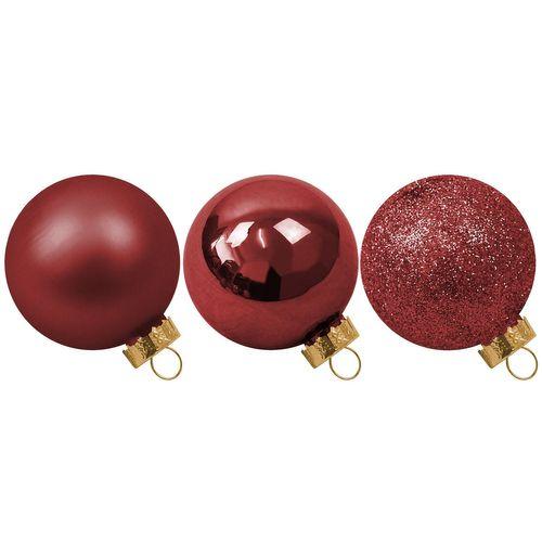 42 Stück Weihnachtskugeln Ø5/5,5/6,5cm - Rot – Bild 2
