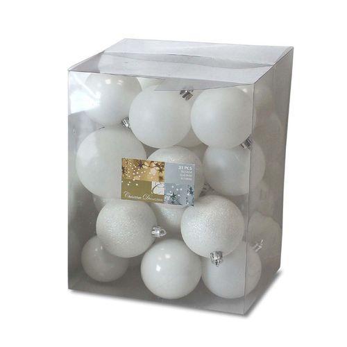 31tlg. Weihnachtskugel-Set Kunststoff Weiss Ø7/6/5cm – Bild 1